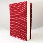 """ปกผ้าพื้นแดง Polka Dot เนื้อผ้าคอตต้อนญี่ปุ่น(โตไก) สำหรับหนังสือขนาด 200 หน้าขึ้นไป ขนาด 8.2"""""""
